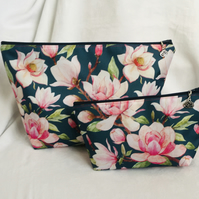 Pretty 2 Piece Zip Bag Set, Large Wash Bag, Make Up Bag, Matching Set, Gift Idea