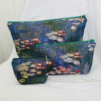 Beautiful 3 Piece Zip Pouch Set, Great Travel Set, Water Resistant Bag Set.