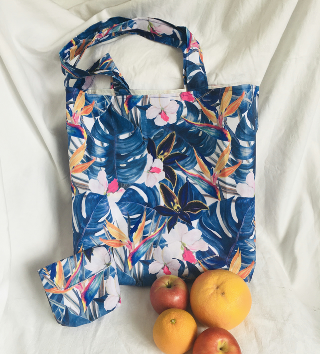 Fold Away Shopping Bag, Tote Shopper Bag & Matching Pouch, Water Resistant Bag.