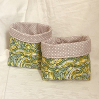 Retro Fabric Boxes, Fabric Tubs, Home Decor Accessories, Fabric Baskets.