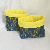 Stunning Set of Fabric Boxes, Fabric Storage Baskets, Giraffe Boxes, Home Decor.