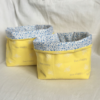Pair of Fabric Storage Baskets, Bee's Print Fabric Boxes, Home Decor Gift Idea