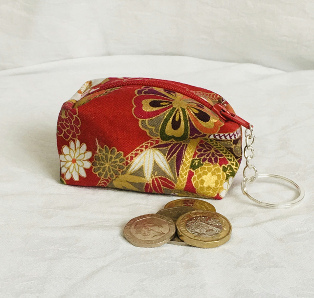 Pretty Keychain Zip Pouch, Functional Keyring pouch, Coin zip pouch, Gift Ideas.