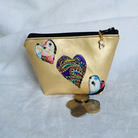 Exclusive Zipped Coin Purse, Gold Faux Leather Coin Purse, Unique Zip Pouch.
