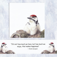 Garden Bird Card, Realistic Woodpecker Birthday Card and Inspirational Bookmark