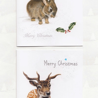 Animal Christmas Cards x 6, 2 different designs
