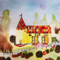 Fairytale Fantasy Cottage Witch House Painting