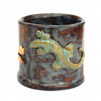 Studio Pottery Ceramic Small Cylinder Pot Relief Carved Lizard and Fly