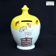 Ceramic Save and Smash Money Savings Pot Box Bank Hand Glazed Busy Bees