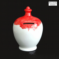 Ceramic Save and Smash Money Savings Pot Box Bank Hand Glazed Red White
