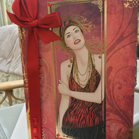 Large Art deco lady birthday or anniversary card.