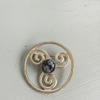 Celtic inspired sterling silver brooch with obsidian stone