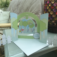 Quirky and fun arch shaped forest friends birthday card