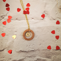 WOODEN PENDANT WITH LETTER CHARM