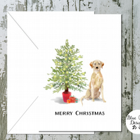 Yellow Labrador Dog Folded Christmas Cards - pack of 10 - personalised