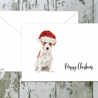 Wire Haired Jack Russell Dog Folded Christmas Cards - pack of 10 - personalised