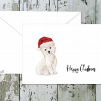 West Highland White Terrier Folded Christmas Cards - pack of 10 - personalised