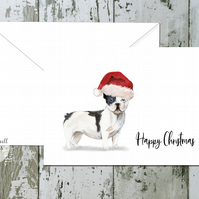 Black White French Bulldog Folded Christmas Cards - pack of 10 - personalised