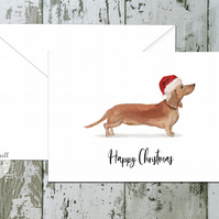 Tan Dachshund Dog Folded Christmas Cards - pack of 10 - personalised