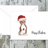 Staffordshire Bull Terrier Folded Christmas Cards - pack of 10 - personalised