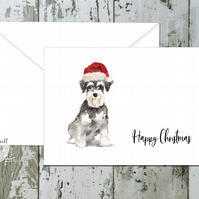Miniature Schnauzer Dog Folded Christmas Cards - pack of 10 - personalised
