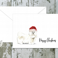 Maltese Dog Folded Christmas Cards - pack of 10 - personalised