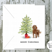 Labradoodle Folded Christmas Cards - pack of 10 - personalised