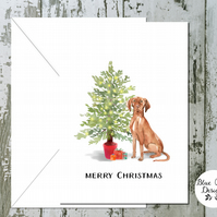 Hungarian Vizla Folded Christmas Cards - pack of 10 - personalised