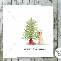 Golden Retriever Folded Christmas Cards - pack of 10 - personalised