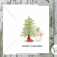 Golden Doodle Folded Christmas Cards - pack of 10 - personalised