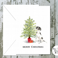 English Pointer Folded Christmas Cards - pack of 10 - personalised