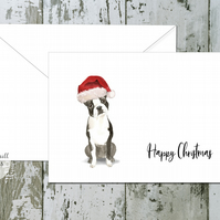 Boston Terrier Folded Christmas Cards - pack of 10 - personalised