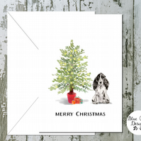 Black White Cocker Spaniel Folded Christmas Cards - pack of 10 - personalised