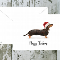 Black Tan Dachshund Folded Christmas Cards - pack of 10 - personalised