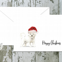 Bichon Frise Folded Christmas Cards - pack of 10 - personalised