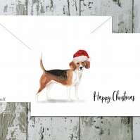 Beagle Folded Christmas Cards - pack of 10 - personalised
