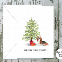 Basset Hound Folded Christmas Cards - pack of 10 - personalised
