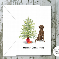 Chocolate Labrador Folded Christmas Cards - pack of 10 - personalised