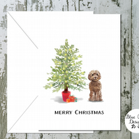 Brown Cockapoo Folded Christmas Cards - pack of 10 - personalised