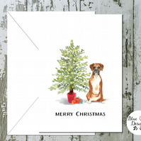 Boxer Dog Folded Christmas Cards - pack of 10 - personalised