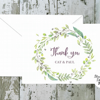 Wedding Thank You Cards - Olive Grove Wreath - pack of 10 - personalised