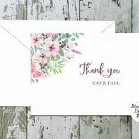 Wedding Thank You Cards - Spellbound Floral Corner - pack of 10 - personalised