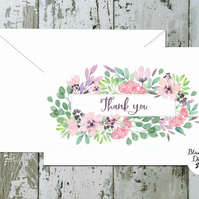 Thank You Cards - Spellbound Floral Centre - pack of 10 - personalised