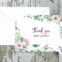 Wedding Thank You Cards - Spellbound Floral Border - pack of 10 - personalised