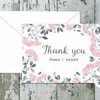 Wedding Thank You Cards - Serenity Floral Border - pack of 10 - personalised
