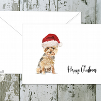 Yorkshire Terrier Folded Christmas Cards - pack of 10 - personalised