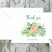Wedding Thank You Cards -Tuscan Summer - pack of 10 - personalised