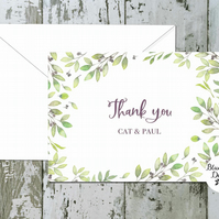 Wedding Thank You Cards - Olive Grove - pack of 10 - personalised