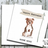 Personalised Birthday Card - Canine Capers - Staffordshire Bull Terrier, Staffie