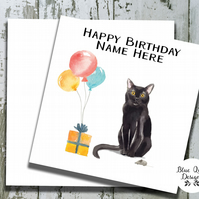 Personalised Birthday Card - Curious Cats - Black Cat with Balloons